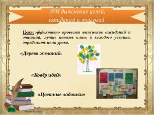 АМ выяснение целей, ожиданий и опасений «Дерево желаний» «Ковёр идей» Цель