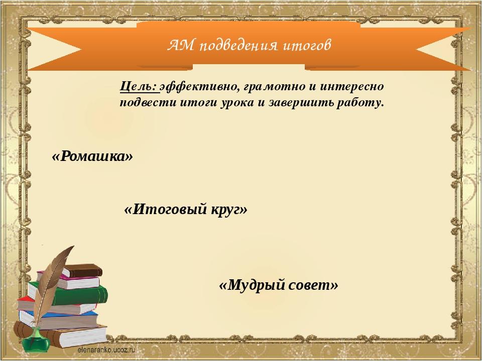 АМ подведения итогов Цель: эффективно, грамотно и интересно подвести итоги ур...