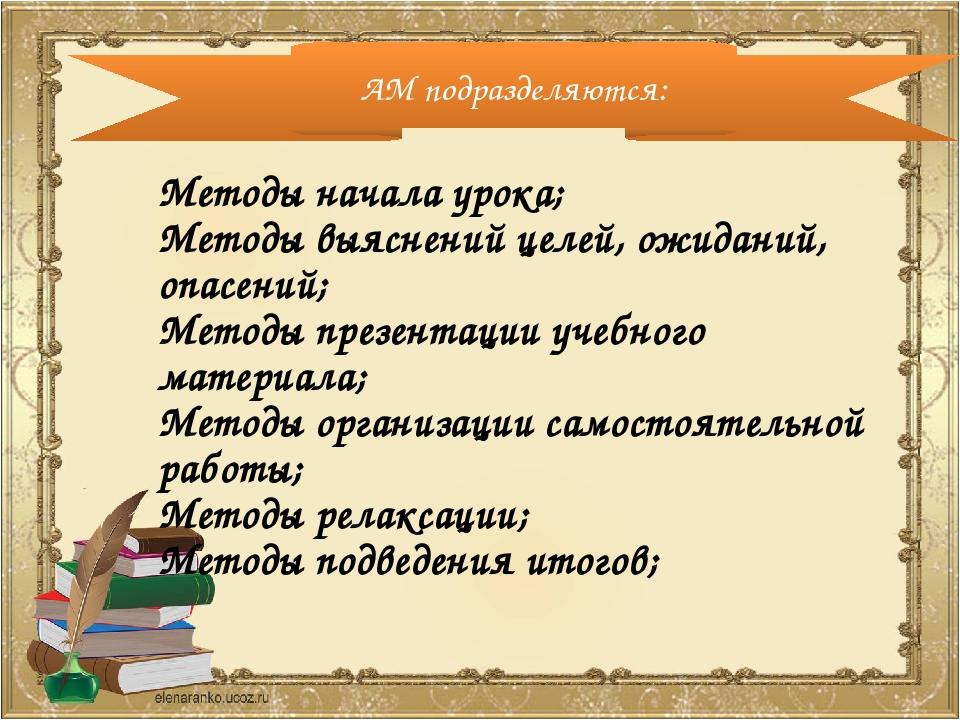 Методы начала урока; Методы выяснений целей, ожиданий, опасений; Методы презе...
