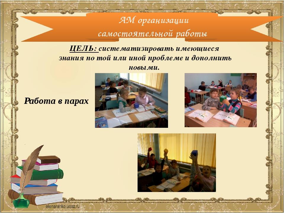 АМ организации самостоятельной работы Работа в парах ЦЕЛЬ: систематизировать...