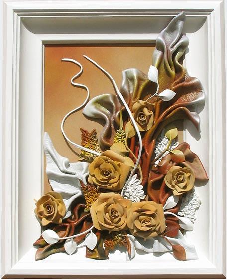 """Творческий проект Художественно-декоративная обработка кожи Декоративное панно """" Эти прекрасные розы"""