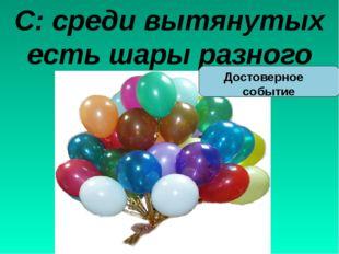С: среди вытянутых есть шары разного цвета Достоверное событие