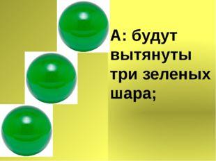 А: будут вытянуты три зеленых шара;