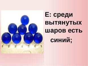 E: среди вытянутых шаров есть синий;
