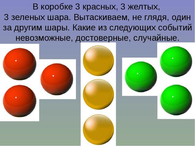 В коробке 3 красных, 3 желтых, 3 зеленых шара. Вытаскиваем, не глядя, один за...