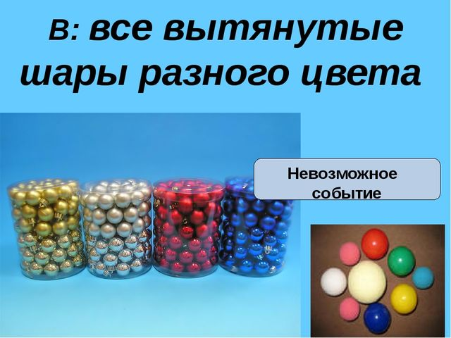 В: все вытянутые шары разного цвета Невозможное событие