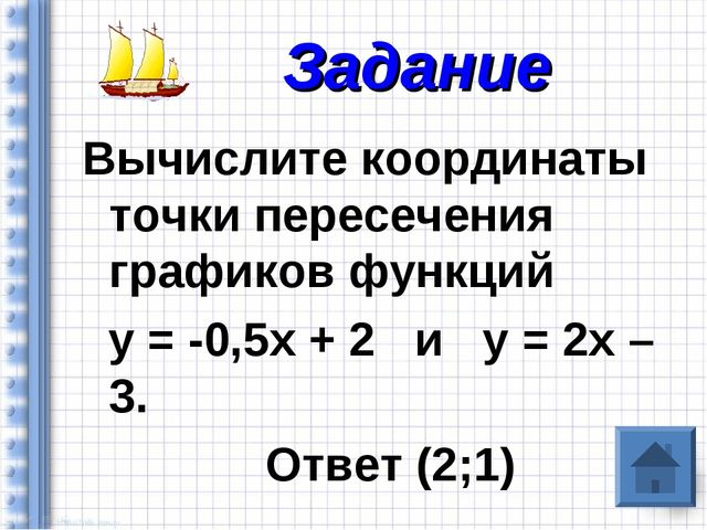 Вычислите координаты точки пересечения графиков функций у = -0,5х + 2 и у = 2...