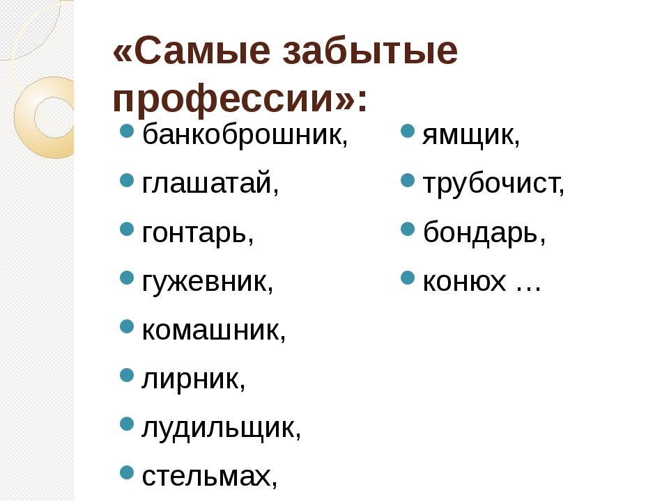 «Самые забытые профессии»: банкоброшник, глашатай, гонтарь, гужевник, комашни...
