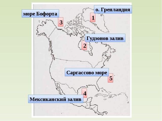 1 2 3 4 5 о. Гренландия Гудзонов залив море Бофорта Мексиканский залив Саргас...