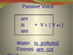 Passive Voice am is + V 3 ( V ed ) are Water is polluted. Forests are cut do