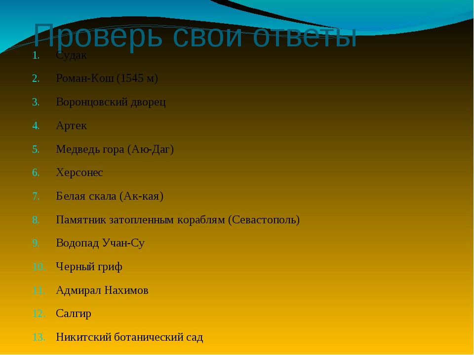 Проверь свои ответы Судак Роман-Кош (1545 м) Воронцовский дворец Артек Медвед...