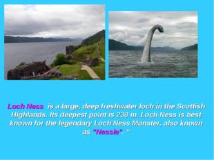 Loch Ness is a large, deep freshwater loch in the Scottish Highlands. Its dee