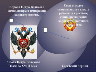 Корона Петра Великого символизирует имперский характер власти. 3 4 Серп и мол