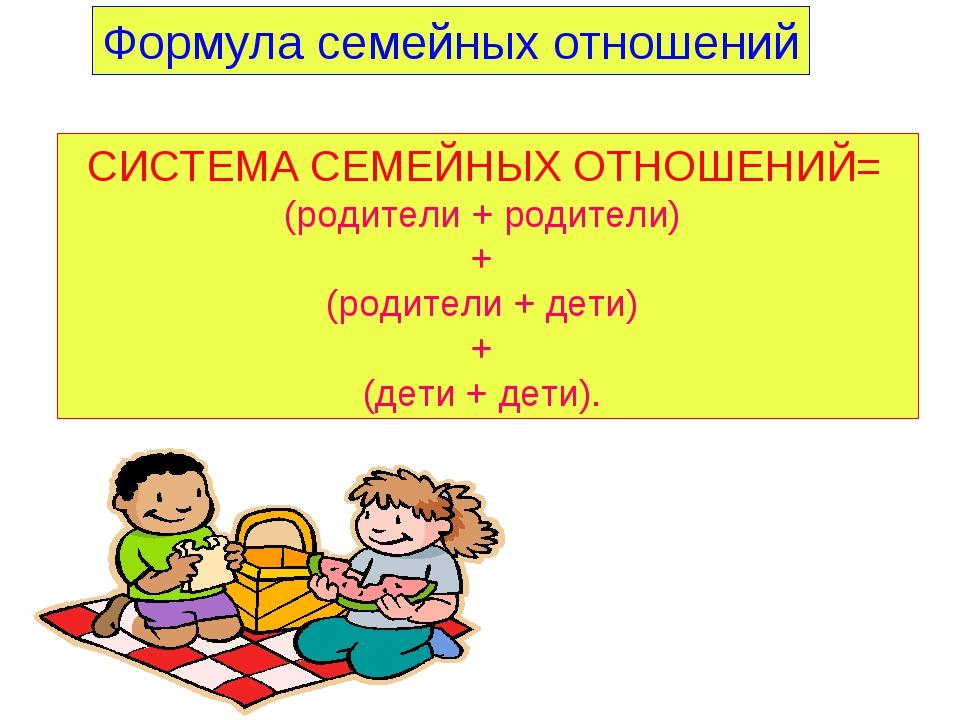 СИСТЕМА СЕМЕЙНЫХ ОТНОШЕНИЙ= (родители + родители) + (родители + дети) + (дети...