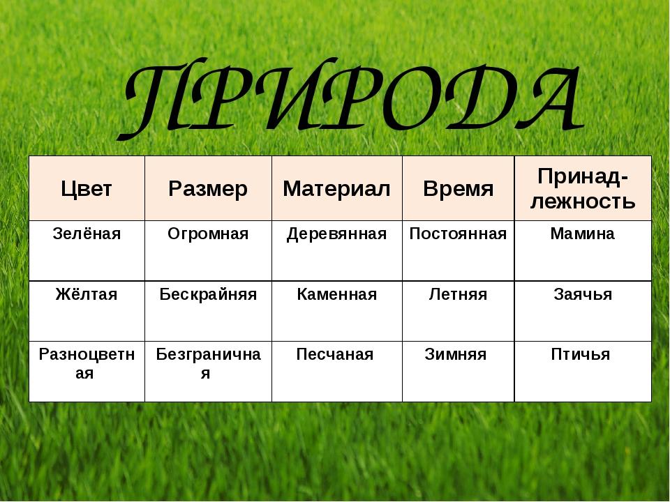 ПРИРОДА Цвет Размер Материал Время Принад-лежность Зелёная Огромная Деревянна...
