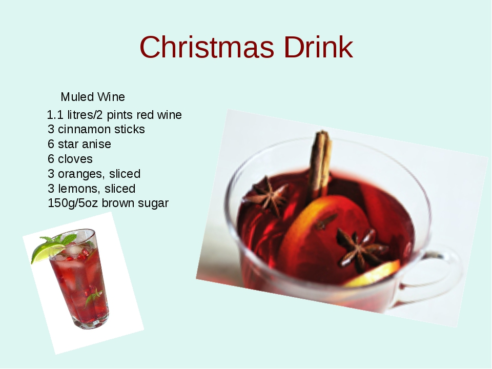 Christmas Drink Muled Wine 1.1 litres/2 pints red wine 3 cinnamon sticks 6 st...