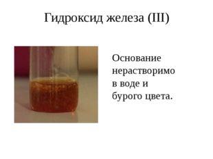 Гидроксид железа (II) Гидроксид железа (II) Fe(OH)2 – также нерастворим, но с