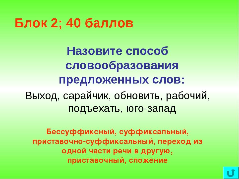 Блок 2; 40 баллов Назовите способ словообразования предложенных слов: Выход,...
