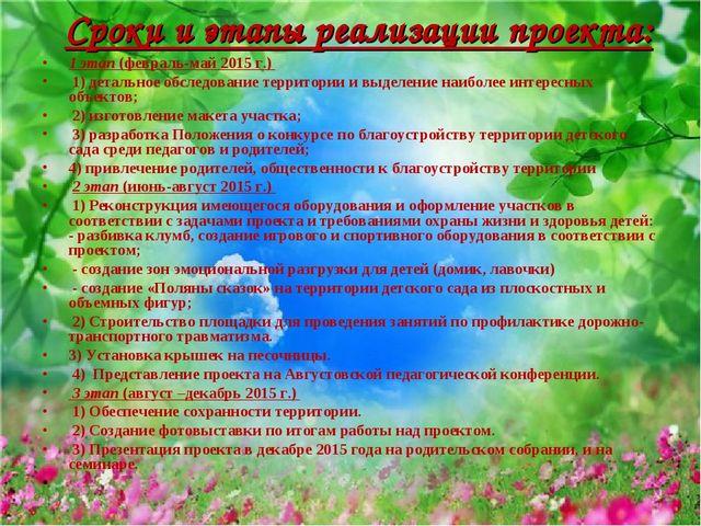Сроки и этапы реализации проекта: 1 этап (февраль-май 2015 г.) 1) детальное...