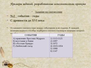 Примеры заданий, разработанные исполнителями проекта Задания на соотнесение №