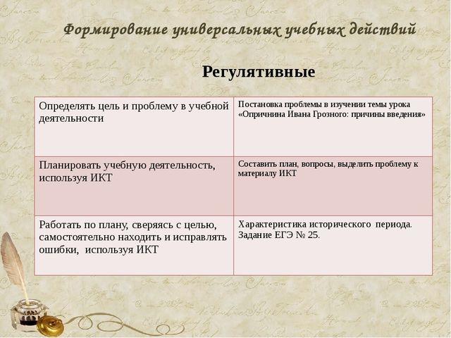 Формирование универсальных учебных действий Регулятивные Определять цель и пр...