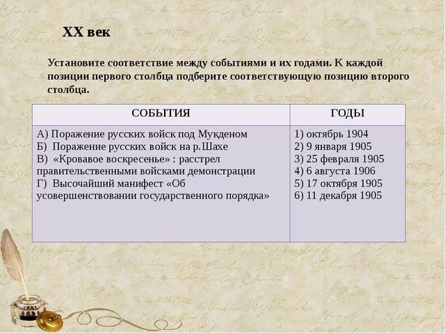 Установите соответствие между событиями и их годами. К каждой позиции первого...