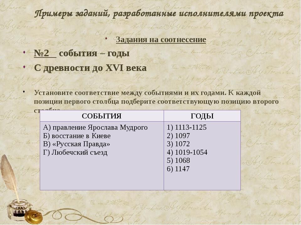 Примеры заданий, разработанные исполнителями проекта Задания на соотнесение №...