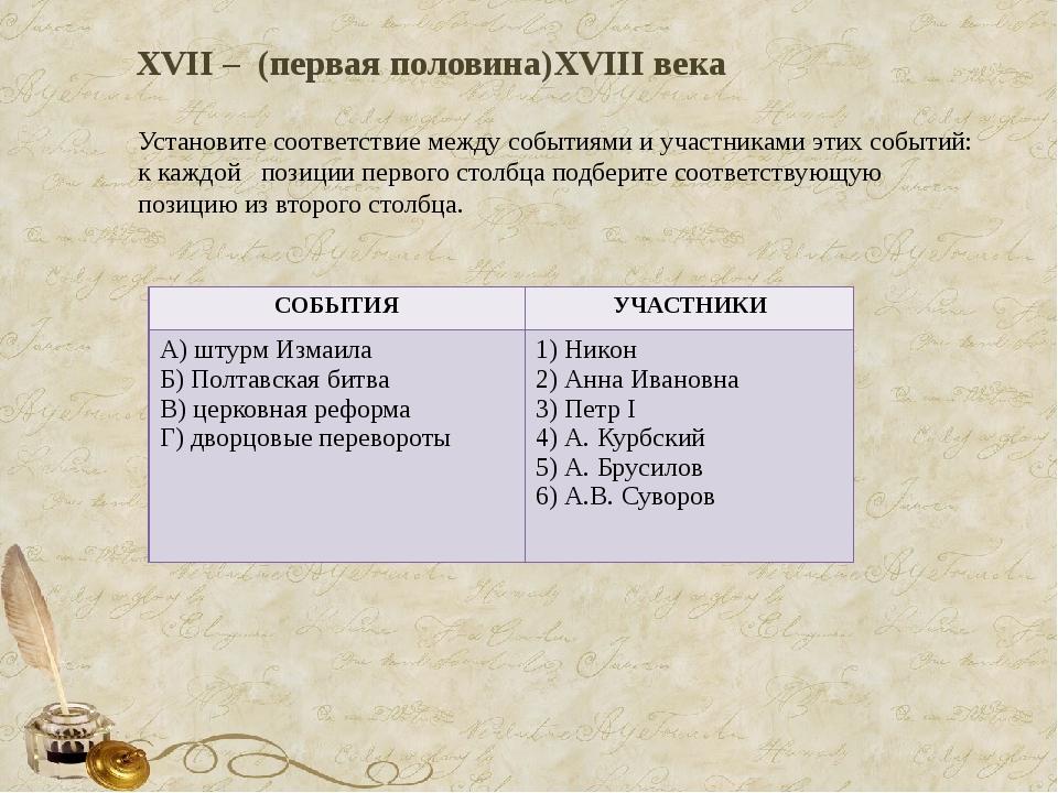 XVII – (первая половина)XVIII века Установите соответствие между событиями и...
