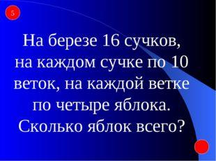 5 На березе 16 сучков, на каждом сучке по 10 веток, на каждой ветке по четыре