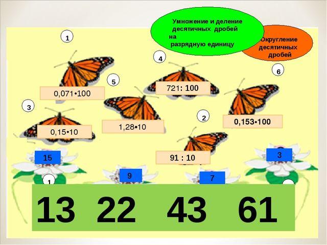 Умножение и деление десятичных дробей на разрядную единицу 13 22 43 61