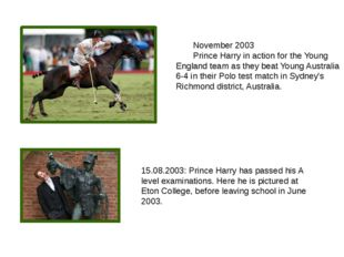 November 2003 Prince Harry in action for the Young England team as they bea