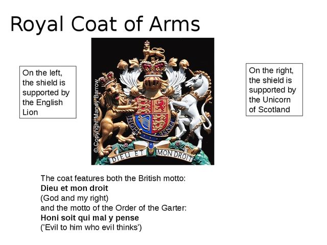 Royal Coat of Arms On the left, the shield is supported by the English Lion O...