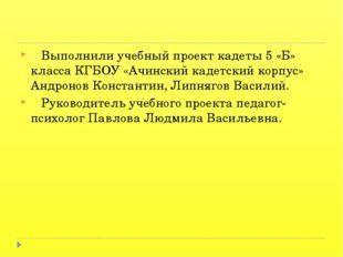 Выполнили учебный проект кадеты 5 «Б» класса КГБОУ «Ачинский кадетский корпу