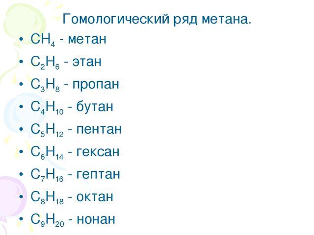 Гомологический ряд метана. CH4 - метан C2H6 - этан C3H8 - пропан C4H10 - бута...