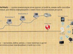 Сеть (NetWork) — группа компьютеров и/или других устройств, каким-либо способ