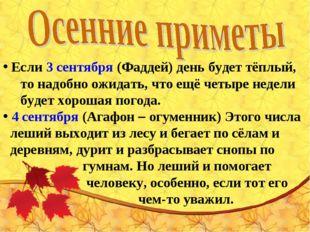 Если3 сентября(Фаддей) день будет тёплый, то надобно ожидать, что ещё четы
