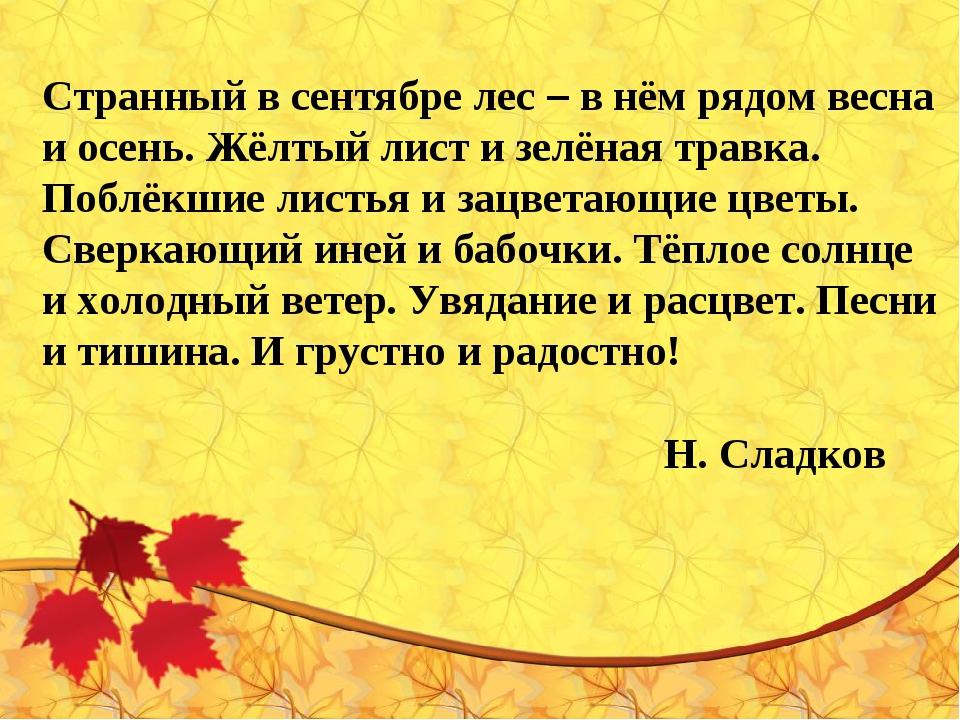 Странный в сентябре лес – в нём рядом весна и осень. Жёлтый лист и зелёная тр...