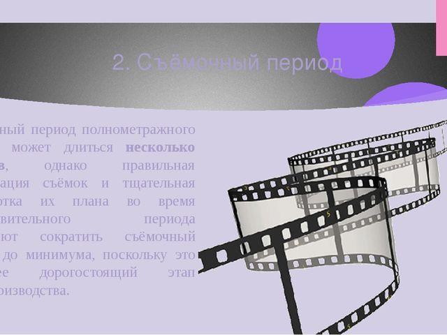 Съёмочный период полнометражного фильма может длиться несколько месяцев, одна...