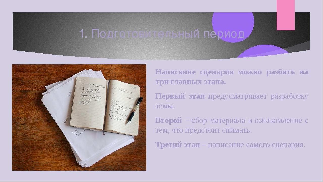 Написание сценария можно разбить на три главных этапа. Первый этап предусматр...