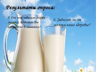 Результаты опроса: 5. От чего зависит марка молока, которую Вы покупаете в ма