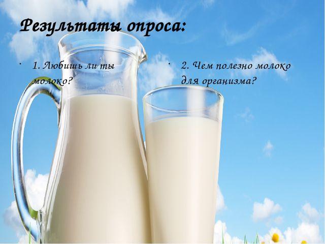 Результаты опроса: 1. Любишь ли ты молоко? 2. Чем полезно молоко для организма?