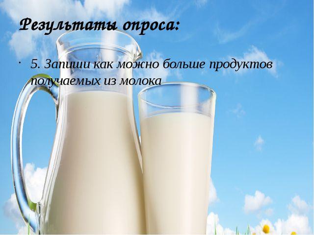 Результаты опроса: 5. Запиши как можно больше продуктов получаемых из молока