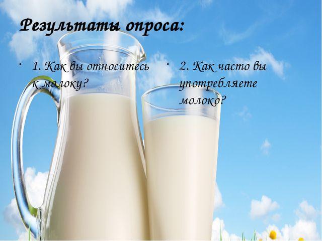 Результаты опроса: 1. Как вы относитесь к молоку? 2. Как часто вы употребляет...