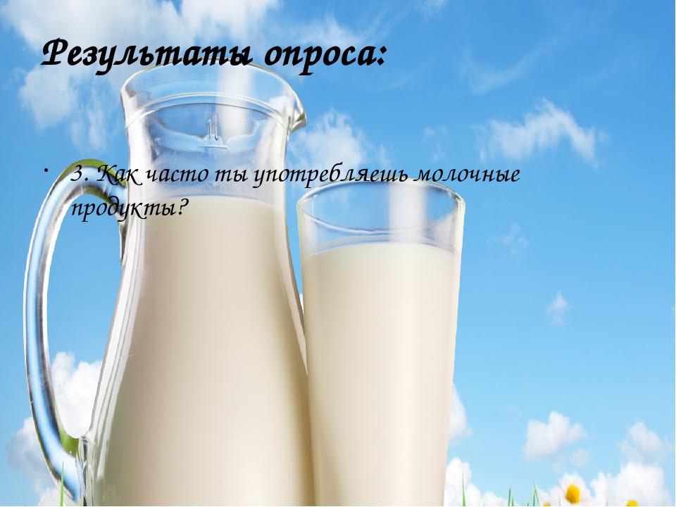 Результаты опроса: 3. Как часто ты употребляешь молочные продукты?