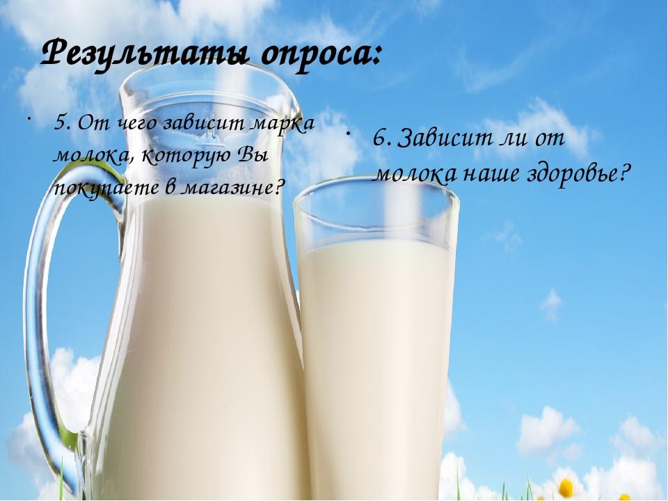 Результаты опроса: 5. От чего зависит марка молока, которую Вы покупаете в ма...