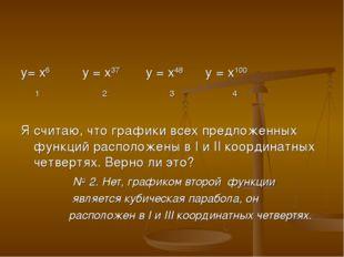 у= х6 у = х37 у = х48 у = х100 1 2 3 4 Я считаю, что графики всех предложенн