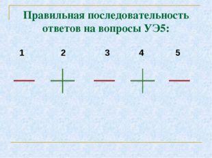Правильная последовательность ответов на вопросы УЭ5: 1 2 3 4 5