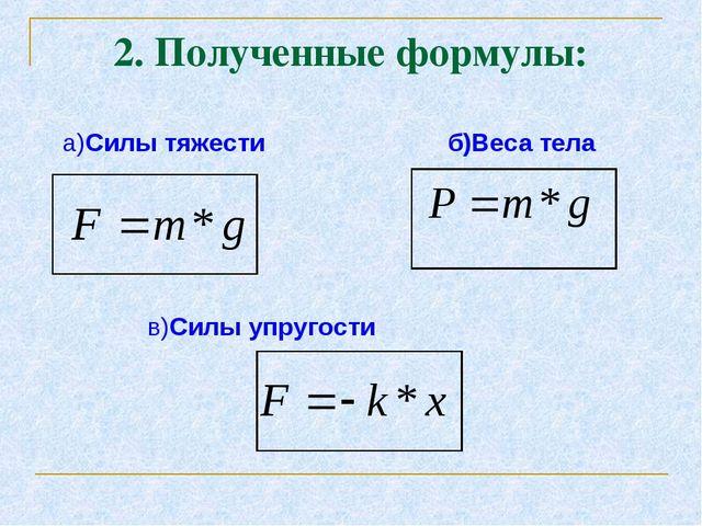 2. Полученные формулы: а)Силы тяжести б)Веса тела в)Силы упругости