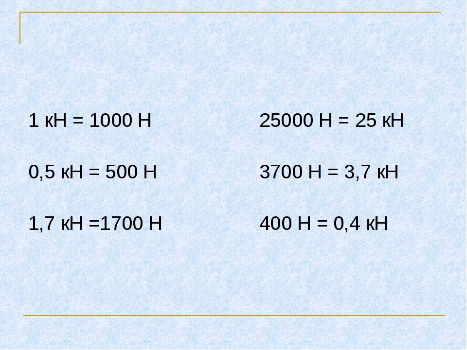 1 кН = 1000 Н 25000 Н = 25 кН 0,5 кН = 500 Н 3700 Н = 3,7 кН 1,7 кН =1700 Н 4...