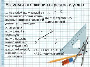 Аксиомы отложения отрезков и углов 1. На любой полупрямой от её начальной то